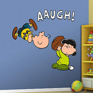 Lucy Pulls Football From Charlie Brown Fathead Wall Decal